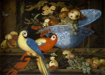 Früchtestillleben mit zwei Papageien, Balthasar van der Ast