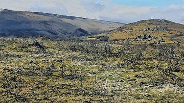 Hügel mit kahlen Ästen - Wildnis - Natur - Landschaft - Gemälde von Schildersatelier van der Ven