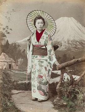 Vintage-Foto, japanische Frau mit Sonnenschirm