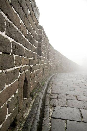 Chinese muur in de mist van