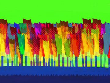 Lisse bloemen  kleur op groen van Joost Hogervorst