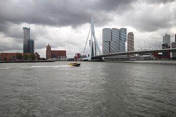watertaxi raast over nieuwe maas onder erasmusbrug Rotterdam
