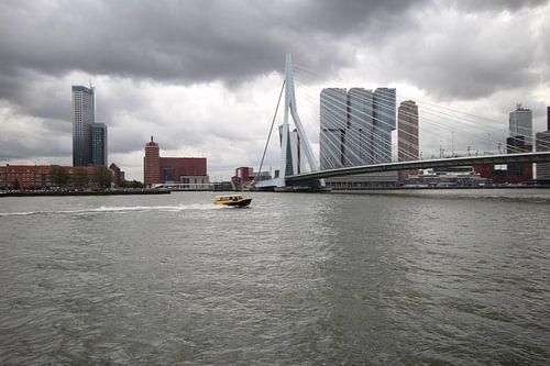 watertaxi raast over nieuwe maas onder erasmusbrug Rotterdam van