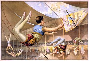 Poster van een Circus met acrobaten aan een trapeze, 1890