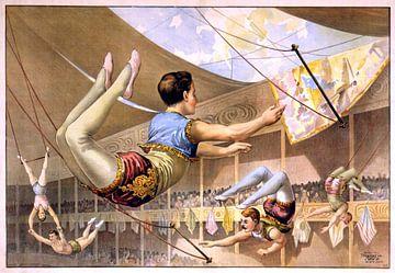 Affiche d'un cirque avec des acrobates sur un trapèze, 1890 sur Natasja Tollenaar