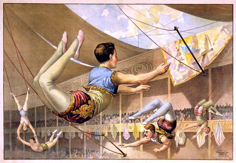 Poster van een Circus met acrobaten aan een trapeze, 1890 van Atelier Liesjes