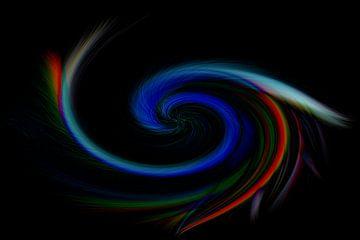 Ein Twist mit hellen Farben schwarz, blau, weiß, gelb, grün, rosa und lila von JM de Jong-Jansen