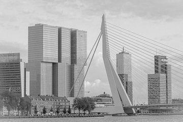 Die Erasmus-Brücke und der Rotterdammer in Schwarz-Weiß von Lizanne van Spanje