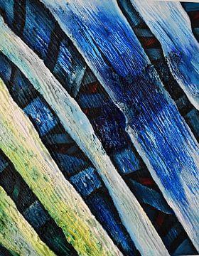 Abstract Onder de  Blauwe  Gele Lijnen van Romana Vac