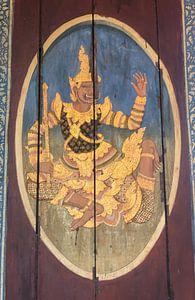 Houten paneel met Deva, Cambodja van
