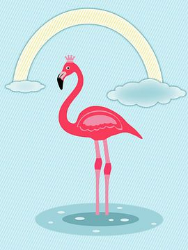 Flamingo rose rouge sur Marion Tenbergen