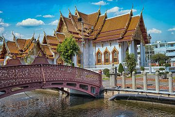 Marmeren Tempel Bangkok van Bernd Hartner