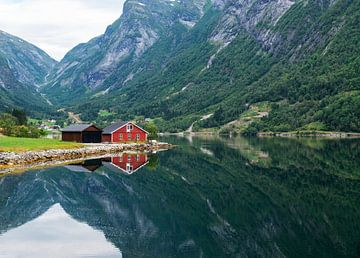 rood houten huis aan een fjord