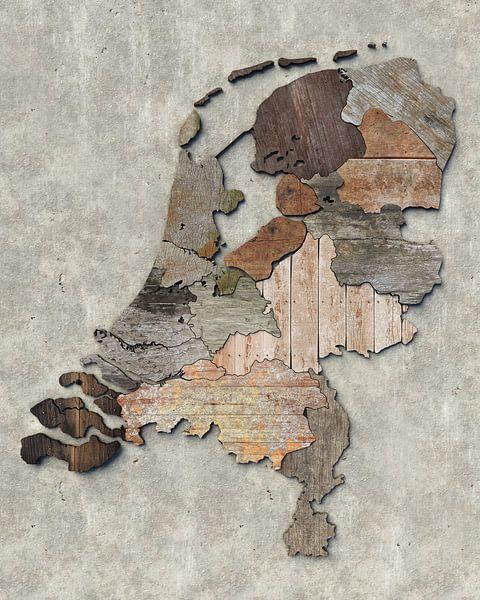Kaart van Nederland in sloophout van Frans Blok