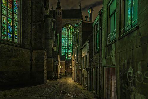 achter de kerk in Gouda van