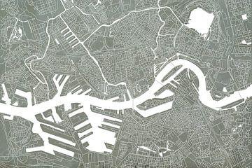 Plan de la ville de Rotterdam | L'aspect concret sur Wereldkaarten.Shop