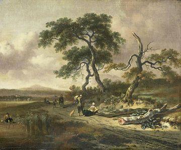 Landschap met marskramer en rustende vrouw, Jan Wijnants