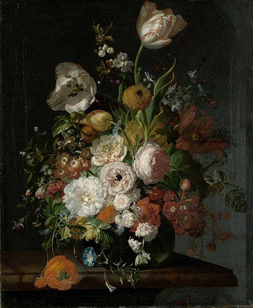 Rachel Ruysch, Stilleven met bloemen in een glazen vaas van Meesterlijcke Meesters