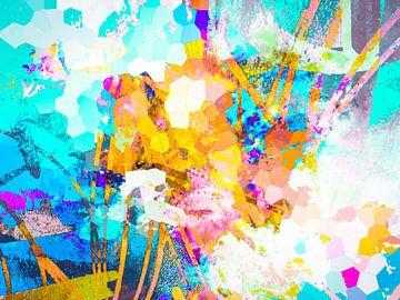 Modern, Abstract Digitaal Kunstwerk in Blauw, Oranje, Wit, Roze