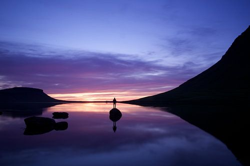 Zonsondergang bij Kirkjufell, Snaefellsnes, IJsland van