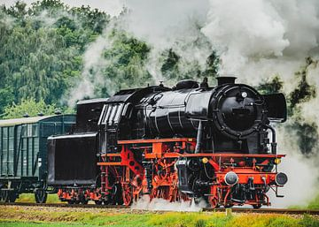 Alte Dampfeisenbahn fährt durch die Landschaft von Sjoerd van der Wal