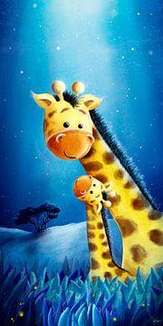 schattige giraffe met baby van Stefan Lohr