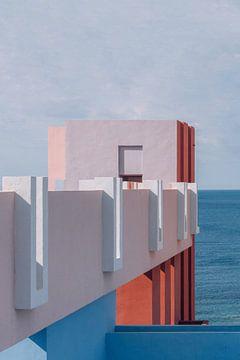 Muralla Roja reisfotografie print ᝢ abstracte pastel architectuurfoto