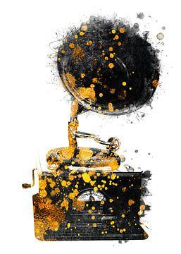 Grammophon Musik Kunst Gold und Schwarz #Grammophon #Musik von JBJart Justyna Jaszke