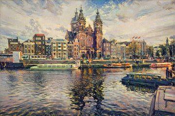 Klassiek schilderij Amsterdam: Centraal station Amsterdam in impressionistische stijl