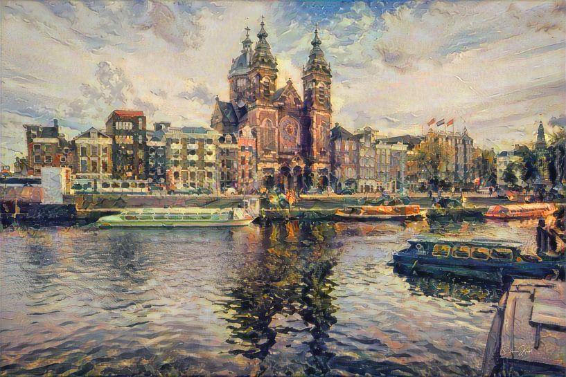 Klassiek schilderij Amsterdam: Centraal station Amsterdam in impressionistische stijl van Slimme Kunst.nl