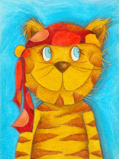 Pirate Kater Lulu - Kunst voor Kinderen van Atelier BuntePunkt