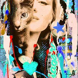 Marilyn Monroe and Cat sur Kathleen Artist Fine Art