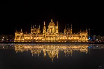 Het Hongaarse parlement in de nacht en de reflectie van het parlement in de Donau van Jan Wehnert