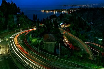 Lichtsporen op Sicilie