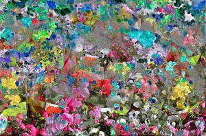 bunte Farbtupfer, abstrakt, Blüte, Blumen, Farbfläche