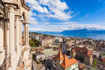Blick über Lausanne und den Genfer See von Werner Dieterich