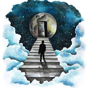 Man loopt op de trap naar de maan