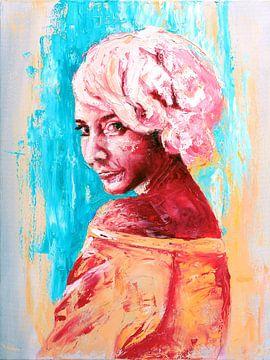 Faizel scharlachrotes Mädchen mit dem rosa Haar von Anouk Maria van Deursen