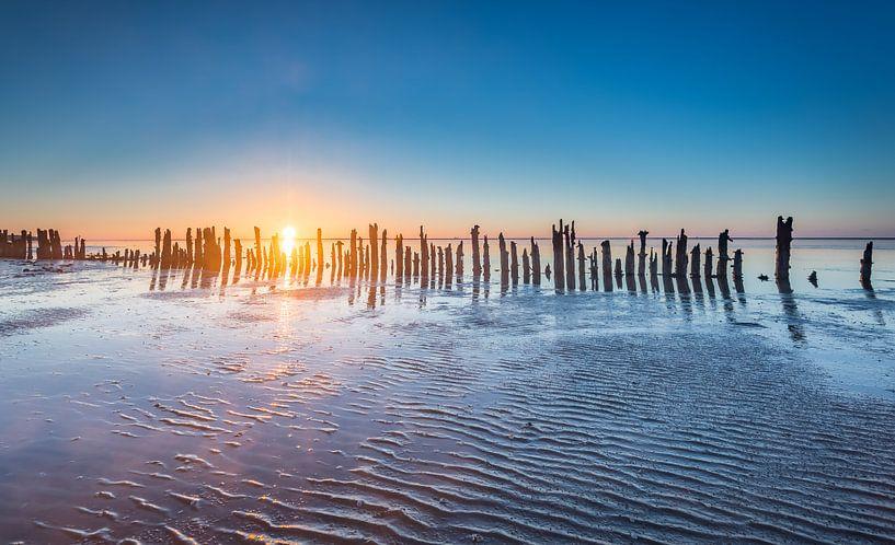 Paaltjes aan de Waddenzee tijdens zonsondergang van Martijn van Dellen