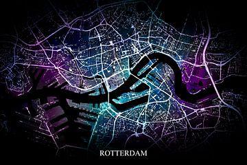 Rotterdam - Abstrakte Karte in Schwarz-Violett-Blau von Art By Dominic