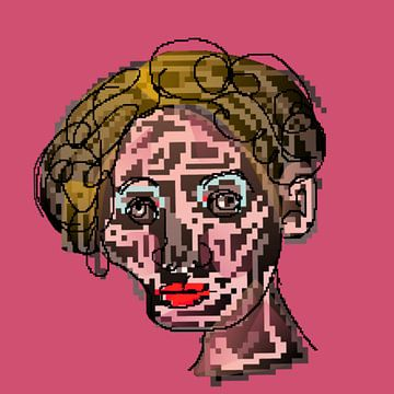 Portret pixels vrouw van Raina Versluis