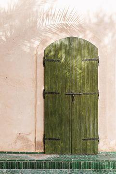 Grüne Tür mit Palmenschatten von Leonie Zaytoune