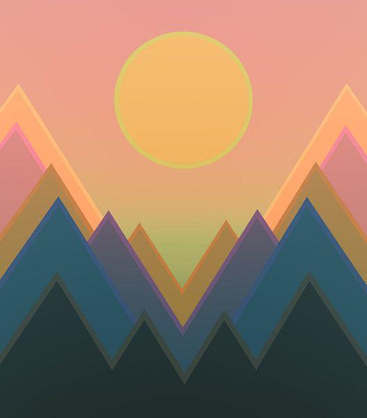 Coucher de soleil dans les montagnes 11 van Angel Estevez