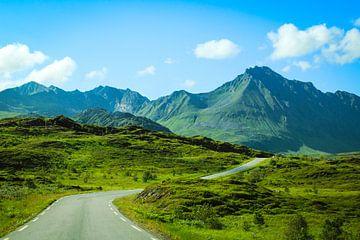 Straße in Richtung Berge auf den Lofoten, Norwegen. von Sara de Leede