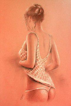 Meisje in lingerie - erotische schilderij Photorealism van