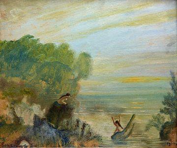 Nackt im Wasser, Louis Eilshemius, Sonnenuntergang, 1920