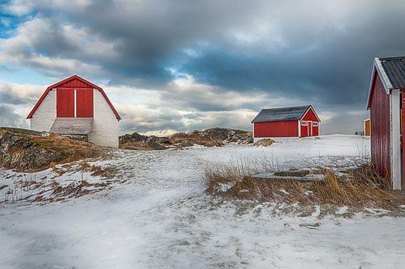 Rode huisjes in de sneeuw