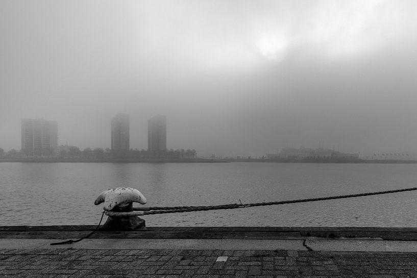 Rotterdam op een mistige ochtend 1 van Ron van Ewijk