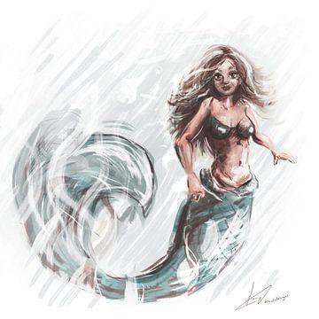 Quadratisches Kunstwerk - Illustration einer Meerjungfrau von Emiel de Lange
