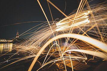 Spetterende staalwol fotografie van Fotografiecor .nl